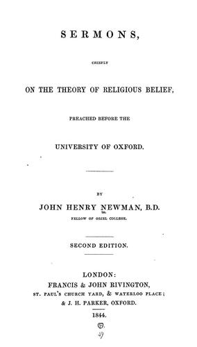 Download Sermons, chiefly on the theory of religious belief
