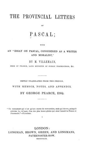 Download The provincial letters of Pascal
