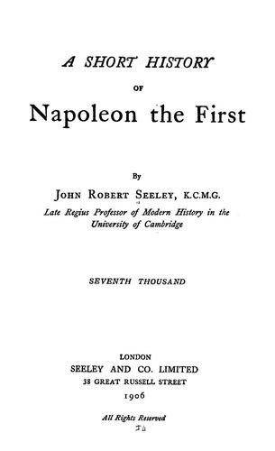 Download A short history of Napoleon the First