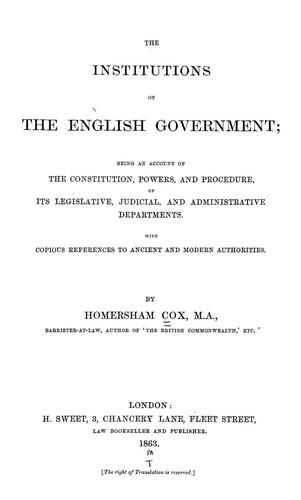 Download The institutions of the English government