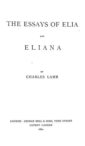 The essays of Elia and Eliana