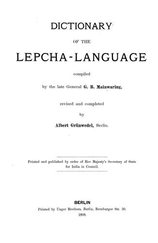 Dictionary of the Lepcha-language (Open Library)