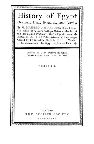 Download History of Egypt, Chaldea, Syria, Babylonia and Assyria