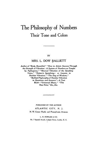 The philosophy of numbers by Sarah Joanna Balliett