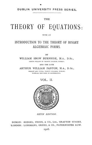 The theory of equations by Burnside, William Snow