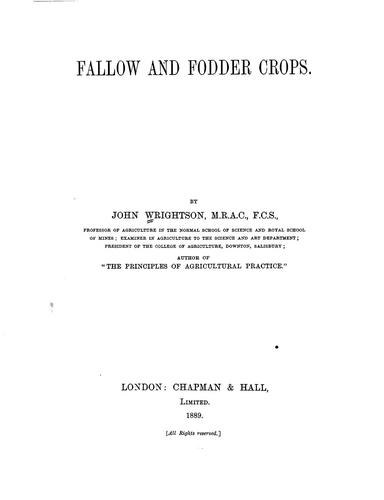 Fallow and fodder crops by John Wrightson